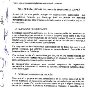 Preacord del Full de Ruta unitari del procés sobiranista català