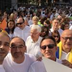 Miquel Buch, alcalde de Premià de Mar; Lluís Guinó, alcalde de Besalú, i Josep Maria Vila d'Abadal, exalcalde de Vic