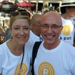 Joan Rabasseda, alcalde d'Arenys de Munt amb Neus Lloveras, presidenta de l'AMI i alcaldessa de Vilanova i la Geltrú.
